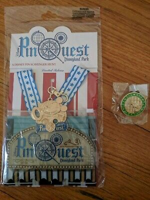 Disneyland Park Pin Quest Scavenger Hunt 7 Disney Pins Lanyard Medal /& Map