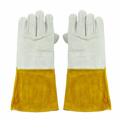 Cowhide Leather Work Gloves 345x145mm Yellow for Welding Protection 1 Pair