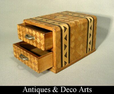Parquetry Veneered Wooden Box with 2 Drawers