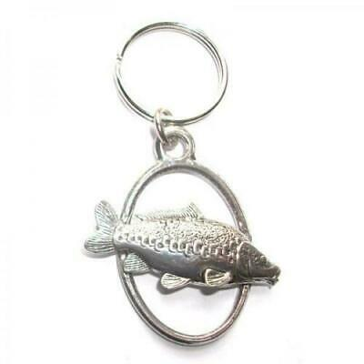 English Silver Pewter in a gift pouch Mirror Carp Fish Oval Keyring