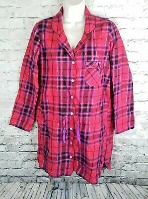 Victorias Secret Flannel Nightgown RED Plaid~ sexy sleep shirt💋EUC - Size S/P