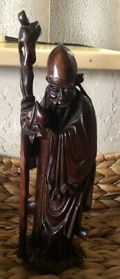 Vintage Chinese Wise Man Craved Wood Figure Has A Small Chip In Bottom