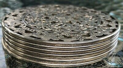 "VINTAGE 3"" WEBSTER FLORAL DESIGN STERLING OVERLAY COASTERS - SET of 6 NO HOLDER,"
