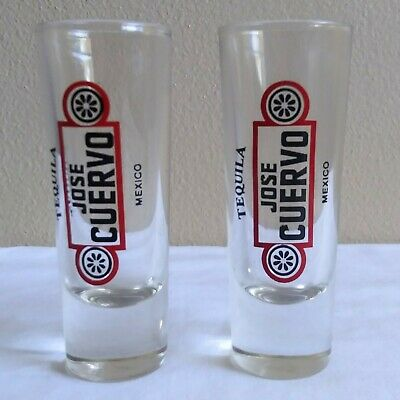 """2 Jose Cuervo Mexico Tequilla Shot Glasses Shooters Tall 4"""" Red & Black Letters"""