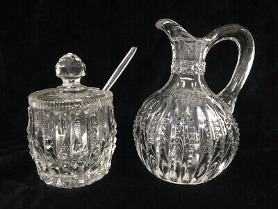 Vintage Crystal With Cut Pattern Small Pitcher & Condiment Jar W/Lid  - Estate