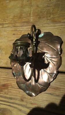 Antique Arts & Crafts Copper Candle Wall Scone
