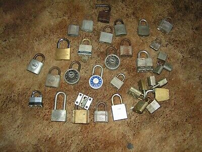 Vintage Lot Of 33 Padlocks Master Yale Slaymaker Etc.