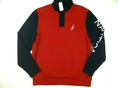 Nautica Mens Sweatshirt Size XL Long Sleeve French Terry Logo Pullover Red NWT