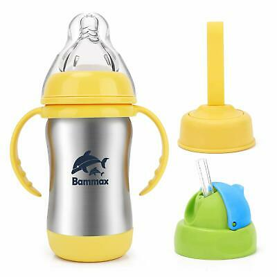 Bammax Sippy Cup Insulated Stainless Steel Cup Silicone Straw 3 in 1 Baby Bottle
