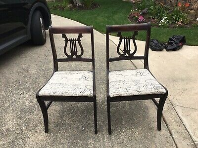 Duncan Phyfe  Harp Chairs Set Of Two Vintage Wood  Antique