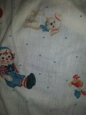 Vintage Raggedy Anne And Andy  Baby Crib Fitted Sheet