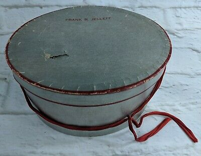 "Vintage Hat Box Frank R. Jelleff Department Store Silver Red Oval 4.5"" x 8"""