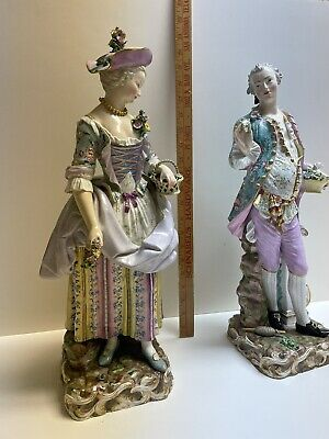 Very Large Pair Antique Meissen Porcelain Gentleman and Lady - On Lamp Bases