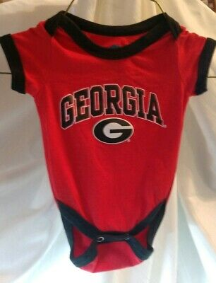 Georgia Bulldogs NCAA Red One Piece Snap Outfit Baby Unisex 0-3 Month 100%Cotton