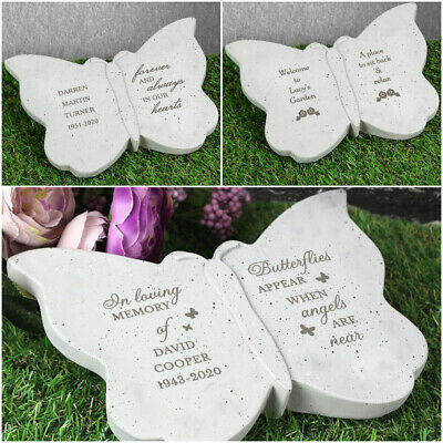 Personalised Memorial Butterfly Plaque Garden Grave Graveside Ornament Rose