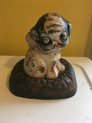 Vintage 1914 Cast Iron Hubley PUPPO Pup Dog ON A PILLOW BANK