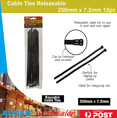 Cable Ties Releasable 250mm 12pc Nylon Plastic Reusable Zip Wraps Ratchet Wire