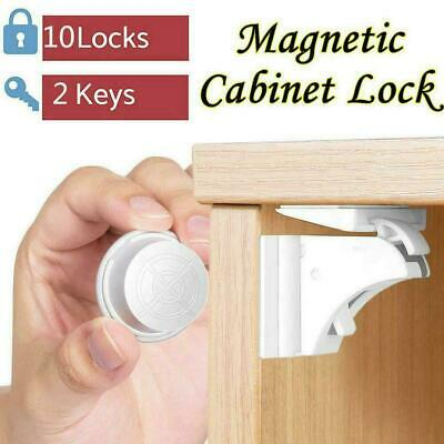 10PCS Magnetic Cabinet Locks Baby Safety Invisible Child Cupboard Drawers P N8G1