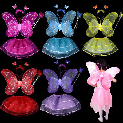 6x Fairy Girl Kids Butterfly Wing Wand Headband Tutu Skirt Costume Set Toy Party