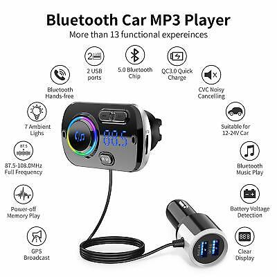 Bluetooth 5.0 Handsfree Car Kit FM Transmitter MP3 Player & USB Fast Charger AUX
