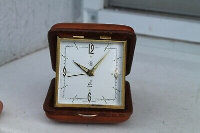 Antique Old French Made Bronze Alarm Clock JAZ Art Deco  8Days Crystal Glass