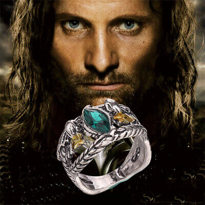 Movie Lord Of The Rings LOTR Crystal Aragorn Ring of Barahir Jewelry Size 6-10