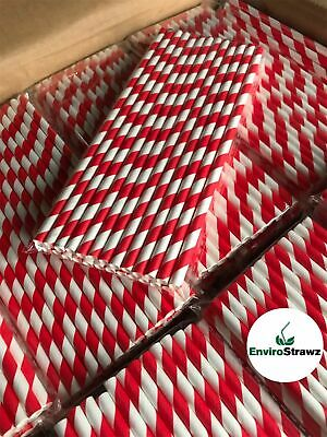 5000 Red/White Striped Paper 100%  Eco Bulk Trade Drinking Straws (6x200mm)