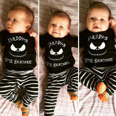 Infant Kid Baby Boys Letter Halloween Long Sleeve Tops +Stripe Pants Outfits