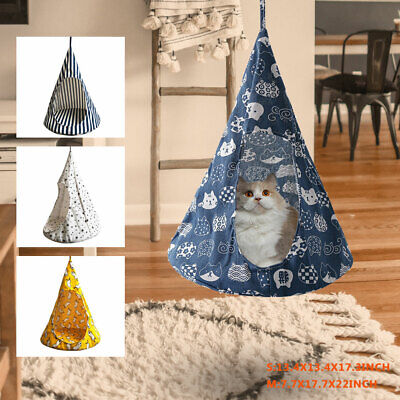 Conical Small Pet Cat Kitty Soft Hanging Bed Hammock Linen Tent Cloth Removable