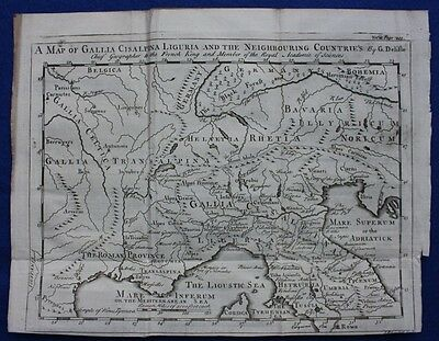 Original antique map NORTHERN ITALY, GALLIA CISALPINA LIGURIA, G.Delisle, 1747