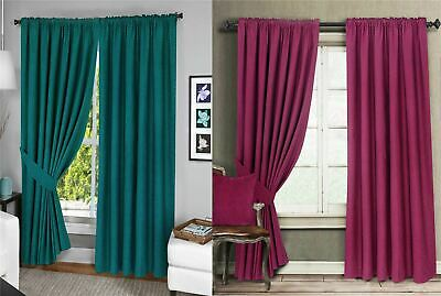 Menaal 100% Cotton Fully Lined Pair of Curtains Solar Blocking Thermal Lining