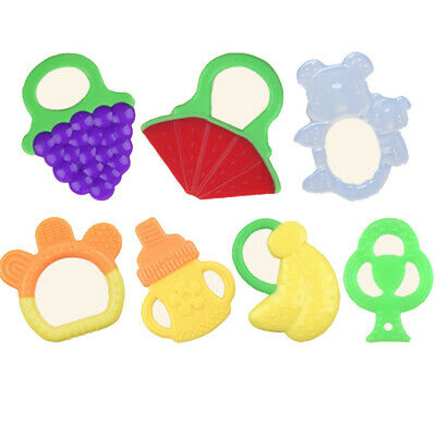 Toddlers Infants Baby Teething Toys Soft Silicone Fruit Silicone Teether Holder