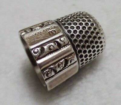 Antique Simons Bros. Sterling Silver Thimble Panel & Scroll