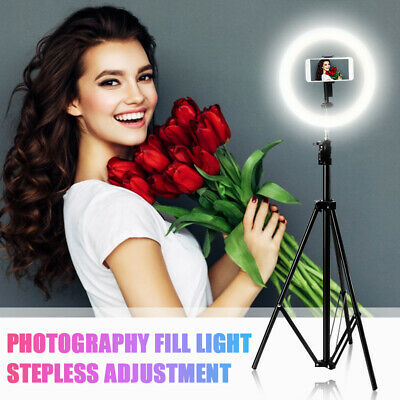 10'' Dimmable LED Ring Light Kit W/ Tripod Stand For Makeup Phone Video Camera