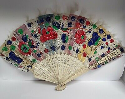 RARE19th CENTURY QING DYNASTY CHINESE HAND CARVED HAND PAINTED FEATHER FAN