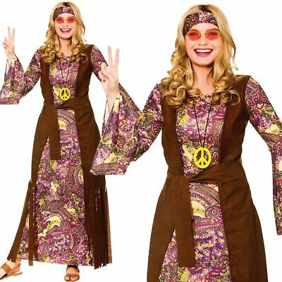 Ladies Flower Hippie Costume Adults 60s 70s Hippy Lady Fancy Dress Womens Outfit