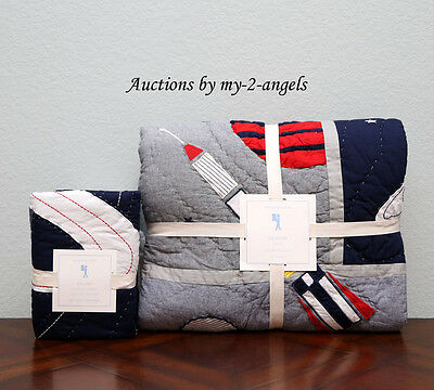 NEW Pottery Barn Kids Airplane Icon Multi-Color Twin Quilt /& Euro Sham Aviator