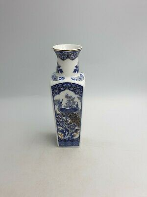 Japanese Porcelain Imperial Peacock Vase Blue Gold Peacocks Birds Peony Flowers