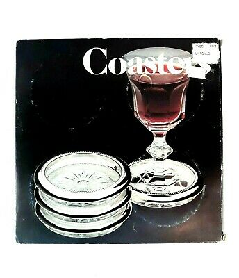 Leonard Silver Plated Crystal Coasters 1980 Set of 4 Italy
