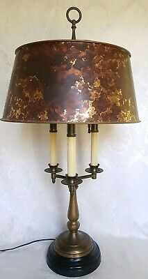 Vintage Bouillotte Three Candle Brass Table / Desk Lamp w/ Shade & Arrow Finial