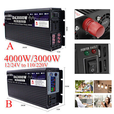 4000W Pure Sine Wave Power Inverter DC12/24 To AC110V/220V Converter LED Display