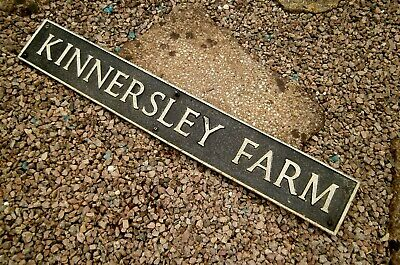 "Large Vintage Distressed Cast Metal Sign  Kinnersley Farm Hereford 36"" X 5"""