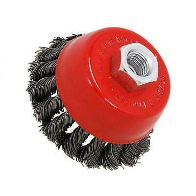 """75 mm / 3 """" Twist knot rotary steel wire cup brush M14"""