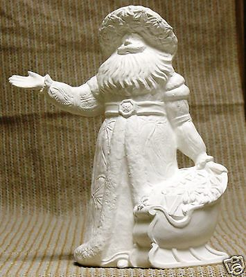Ceramic Bisque Poinsettia Santa from Gare Mold 3021 U-Paint Ready To Paint