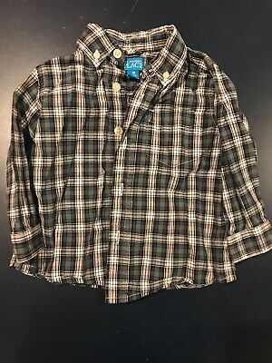 The Childrens Place Boys Plaid Button Down Shirt Green Size 18 Months