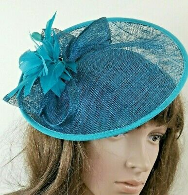 Fascinator Headband. Mini Disc. Blue. HATBOX. One Size. Wedding. Races. Formal