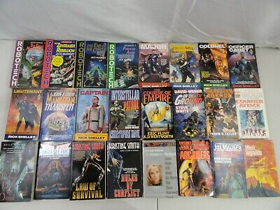 Vintage Paperback Book Lot Of 24 Novels Fiction Sci-Fi Themed Mixed Authors