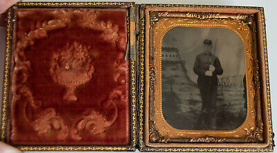 Civil War Soldier Tintype W/ Long Rifle and Bayonet Tents Fort Barracks Shown