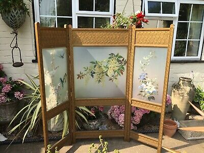 Edwardian folding screen with handpainted frosted glass