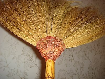 Handcrafted Natural Broom Brush Fireplace Hearth Asia Handpainted Vintage